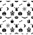 seamless pattern with halloween icons vector image
