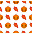 seamless pattern with halloween pumpkin and leaf vector image