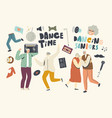 senior characters sparetime with dancing and fun vector image