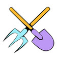 shovel and pitchfork icon cartoon vector image vector image
