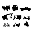 Silhouette set of vehicle vector image vector image