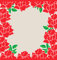 square frame red blossom rose flowers with vector image