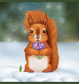 squirrel in the snow with a bouquet of crocuses vector image vector image