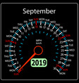 the 2019 year calendar speedometer car september vector image vector image