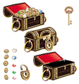 Treasure Chest jewelry ornament set vector image vector image