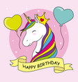 unicorn with crown and balloons vector image vector image