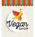 Vegan shop design with orange and banana fruit vector image