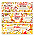 welcome autumn banner set with fall leaf wreath vector image vector image