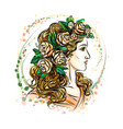 woman in flower wreath vector image vector image