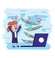 woman with laptop and global bills transaction vector image