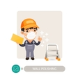 Worker Polishing Wall vector image vector image