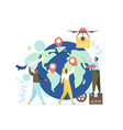 worldwide delivery service flat style vector image