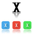 x roman numeral icons colored set with reflection vector image vector image