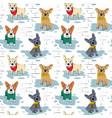 cartoon character french bulldog seamless pattern vector image