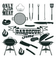 monochrome barbecue icons set vector image