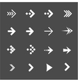 white arrows set on a black background vector image