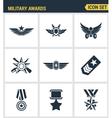 Icons set premium quality military awards star vector image