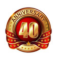 40 anniversary golden label with ribbon vector image vector image