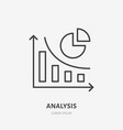 analysis finance infographic flat line icon vector image vector image
