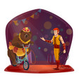 animal trainer bear riding bicycle circus show vector image vector image