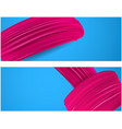 banner with pink paint brush strokes vector image vector image
