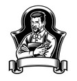 barber holding clippers with blank ribbon for text vector image vector image