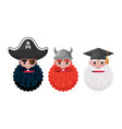 beard men pirate viking and professor icons vector image vector image