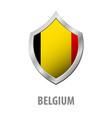 belgium flag on metal shiny shield vector image