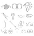 bicycle outfit outline icons in set collection for vector image