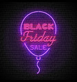 black friday red neon sign with purple balloon vector image vector image