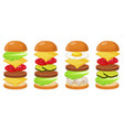 burger ingredients four sets vector image vector image