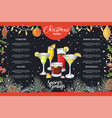 chalk drawning christmas menu design winter vector image
