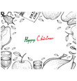 christmas and new year dinner frame on white backg vector image vector image