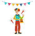 clown animator shows tricks and scenes vector image