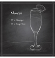 Cocktail alcohol Mimosa on black board vector image vector image