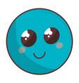 cute face emoticon kawaii character vector image vector image