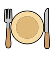 dish with fork and knife vector image vector image