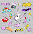fashion girls badges with rainbow cat vector image vector image
