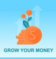 flat banner grow money bunch cent in plant vector image vector image
