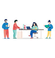 flat busy people in the vector image
