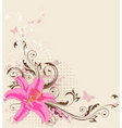 floral background with pink lily vector image vector image