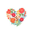 floral heart with isolated hand drawn flowers vector image