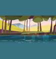 forest pond nature landscape calm lake or river vector image vector image