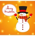 Funny Cartoon Snowman on Christmas Background vector image vector image