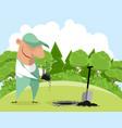 gardener planting a plant vector image