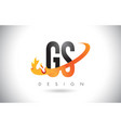 gs g s letter logo with fire flames design and vector image vector image