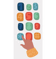 hand and finger pushing button on a keypad vector image vector image