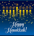 happy hanukkah greeting card lights on dark vector image