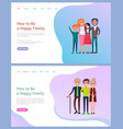 how to be happy family parents and children vector image vector image