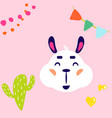 lama white isolated cute childish vector image
